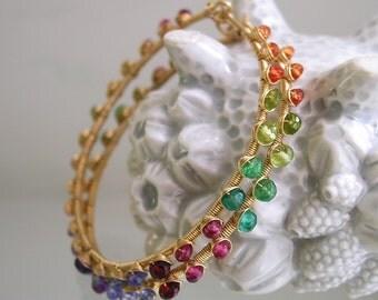 Multi Gemstone Gold Filled Hoops, Rainbow Gem Earrings, Bohemian Hoops, Amethyst, Tsavorite, Tanzanite, Signature Original, Made to Order