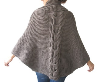 Plus Size Hand Knitted Brown Poncho with Leather Rope by Afra