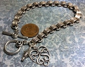 handmade OOAK metal bookchain bracelet with heart charm