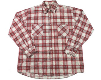 Vintage 80s Ozark Trail Red/White/Black Plaid Button Up Shirt Made in USA Mens Size XL