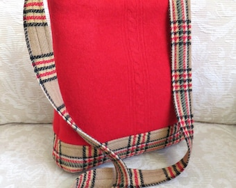 James Shoulder Bag in Red Cable Knit Sweater Wool and Plaid, Eco Friendly Upcycled Purse