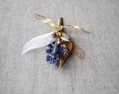 Pin On Boutonniere for Winter Wedding Lavender, Rosebuds, Gilded Flax and Dried Flowers Velvet and Gold Blush Ivory Leaves