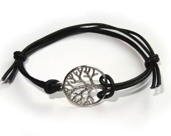 Silver Tree Of Life Leather Cord Friendship Bracelet,black cord bracelet, Sliding knot bracelet , birthday gifts, adjustable bracelet