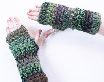 Boho fingerless gloves hand vegan warmers Sage green emerald purple