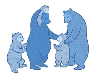 "The ""B"" Team - Bear family Large print (Blue)"