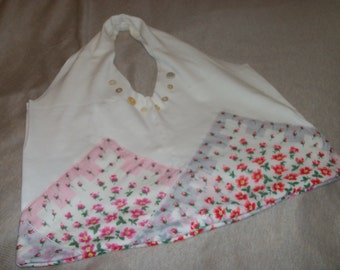 Pink Red and White Vintage Hankies Recycled Tshirt Shopping Bag