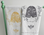 EXTRA LARGE Tea Towel Flour Sack style with Beehive pattern and Queen Bee Printed by Hand