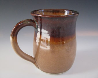 Ceramic Pottery Mug in Brown Amber and Beige Drinking Vessel