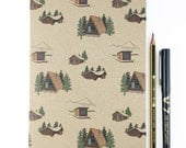 Winter lodge A5 plain notebook - log cabin / travel / adventure - recycled notepad