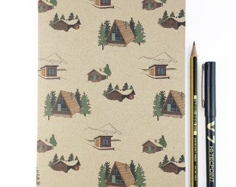 Winter lodge A5 plain notebook