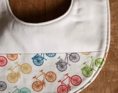 Bicycle Baby Bib, RIDE, Multi-color Bicycles Drool Bib Gift, Handmade in Canada, Organic Cotton Reversible Bikes Bib for Teething Babies
