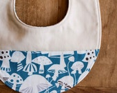 Organic Baby Bib in TOADSTOOLS; Mushrooms, Blue and White Newborn Baby Bib Gift by Organic Quilt Company