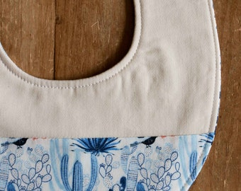 Cactus Baby Bib; Organic Cotton Cacti, Desert Teething Bib, Handmade Drool Bib for Babies; Unique Baby Shower Gift under 20; Modern Blue Bib