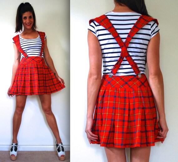 vintage 80s 90s plaid pleated mini skirt with suspenders