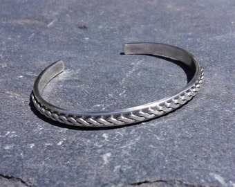 Slender sterling silver cuff bracelet with twisted rope design, oxidized silver, for him or for her, rustic handmade to order in your size