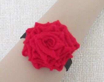 Rose Pincushion Wristlet, Pincushion Cuff, Wearable Pincushion, Red Rose, Gift for Quilter, Portable Pincushion, Handy Pincushion  SP306