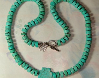 Turquoise Howlite Cross Necklace  inv683