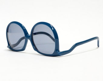 Blue Silhouette vintage sunglasses - model: 62 - 1970s oversized sunglasses - reverse tepmles in NOS condition, made in Austria
