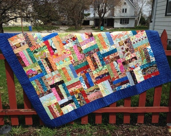 SALE Scrappy Rail Fence lap quilt
