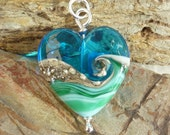 Deep Blue Sea glass heart pendant - UK, SRA
