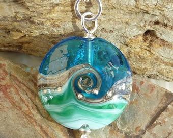 Deep Blue Sea lentil ... handmade glass bead and silver .. UK SRA