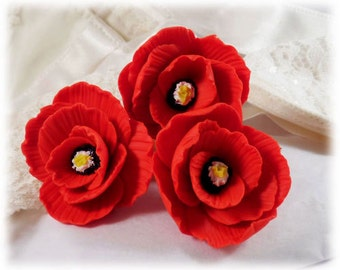 Poppy Hair Pins - Poppy Hair Accessories, Red Poppy Hair Flowers