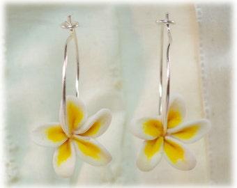 Plumeria Hoop Earrings - Frangipani Hoops, Tropical Flower Hoop Earrings, Plumeria Jewelry