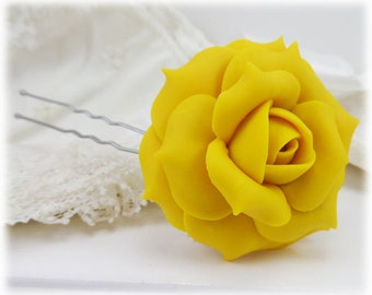Yellow Rose Hair Clip Pin - Yellow Rose Hair Flower, Yellow Flower Hair Pin
