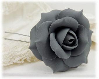 Gray Rose Hair Clip Pin - Gray Hair Flower