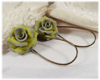 Yellow Gray Rose Drop Earrings or Dangle Earrings