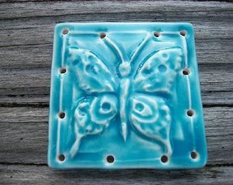 Ice Blue Ceramic Butterfly Pine Needle Basket Base