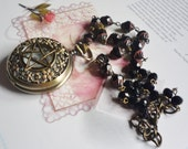 SOLD TO JULIE Pentagram Antique Brass Pocket Watch Sapphire Gemstone Necklace