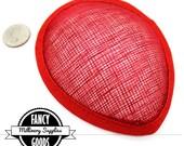1 - Red - Teardrop Hat Base - Hat Form - Hat Foundation -  Sinamay Straw - Fascinator - Millinery