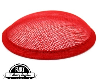 1 - Red - Round Hat Base - Sinamay Straw - Fascinator - Hat Foundation - Millinery