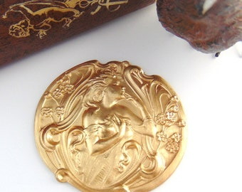 BRASS Forest Fairy Nymph - Goddess Woman Stamping - Jewelry Ornament Findings (C-307) #