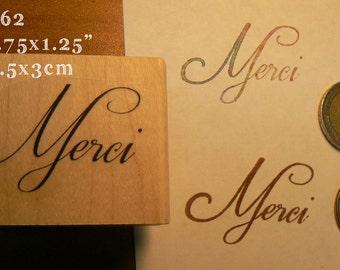Merci script rubber stamp P62
