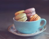 Macaron Photograph, Food Photography, Kitchen Decor, Dark Background, Still Life, Kitchen Art, Nursery Decor, Blue Tea Cup