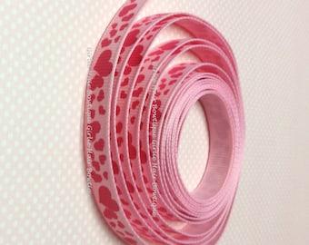"3/8"" Pink Heart Ribbon 5 yds Ribbon by the Yard Valentine Ribbon Grosgrain Ribbon Shocking Love Ribbon Wedding Ribbon Valentine's Day Ribbon"