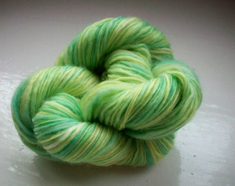 Hand painted pure wool yarn 50g greens