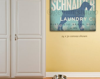 Miniature Schnauzer dog Laundry Company illustration graphic art on gallery wrapped canvas by stephen fowler