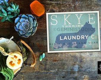 Skye Terrier Dog laundry company laundry room artwork giclee archival signed artists print Pick A Size
