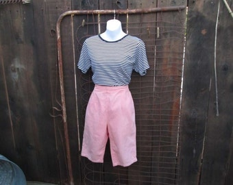 60s vintage Shorts knee length Knee knocker bermuda shorts Peach pants Vintage denim shorts S M