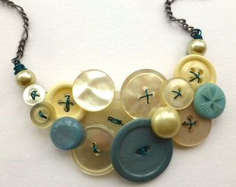 Aqua and Pearl Vintage Button Jewelry Statement Necklace