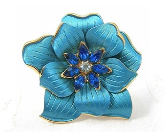 "Blue Flower Brooch, Blue Rhinestones Center, Large 3"", Metal Enameled Flower, Spring Pin, Vintage c1970s, Costume Jewelry"