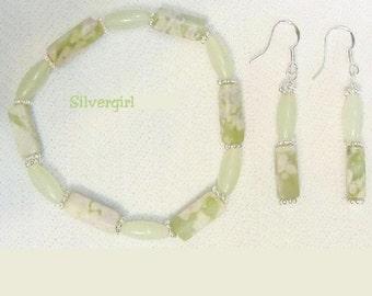 New Jade Peace Stone Gemstone Bracelet Earring Set