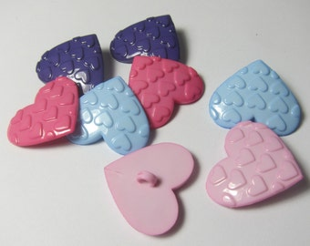 Assorted Hearts on Heart Novelty Buttons