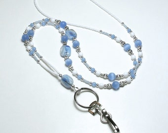 Beaded Lanyard, Blue Glass Lampwork Beads, Eyeglass Chain,  ID Badge Holder, Sunglasses Necklace