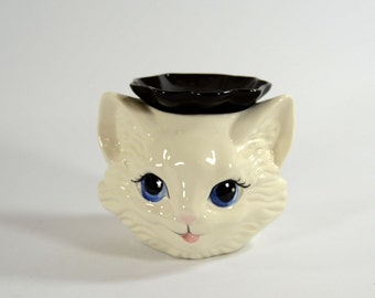White Cat Miniature African Violet Pot