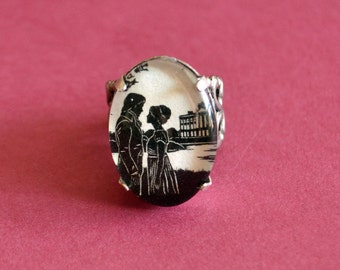 Sale 20% Off // PRIDE AND PREJUDICE Ring - Elizabeth and Darcy at Pemberley - Silhouette Jewelry // Coupon Code SALE20