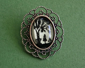 Sale 20% Off // ALICE IN WONDERLAND Brooch - Silhouette Jewelry // Coupon Code SALE20
